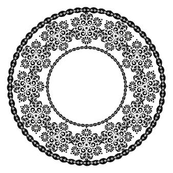 Ornamento redondo preto para o design de molduras menus convites de casamento preto e branco