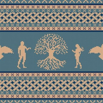 Ornamento sem emenda de malha world tree