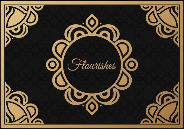 Ornamento vintage cartão caligrafia redemoinhos ornamentados e vinhetas