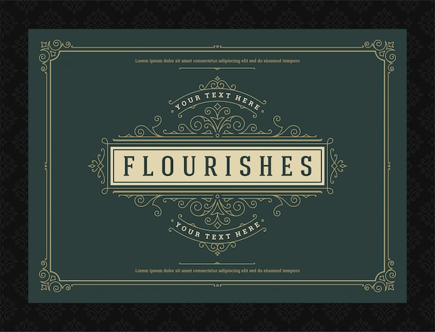 Ornamento vintage cartão caligráficos ornados redemoinhos e vinhetas quadro projeto vector