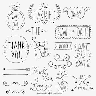 Ornamentos caligráficos casamento