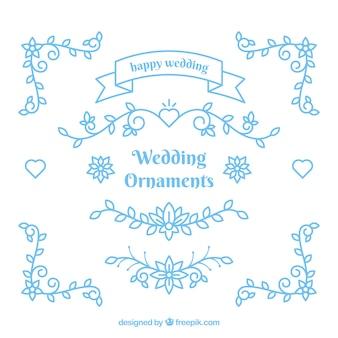 Ornamentos de casamento azul