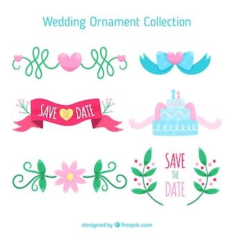 Ornamentos de casamento colorido mão desenhada