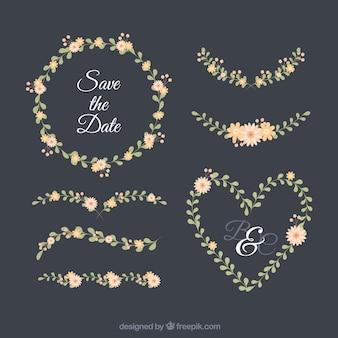 Ornamentos de casamento com estilo floral