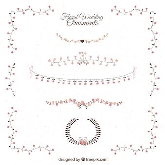 Ornamentos de casamento florais delicados e elegantes desenhados mão
