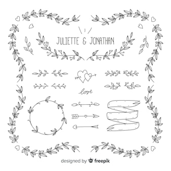 Ornamentos de casamento mão desenhada
