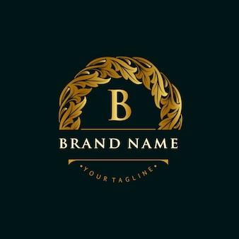 Ornamentos de folha de logotipo de marca de ouro