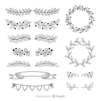 Ornamentos de mão desenhada para casamento