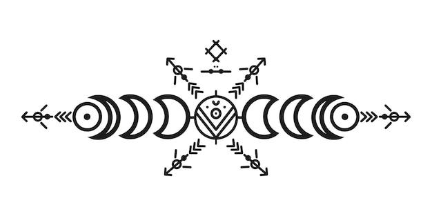 Ornamentos e flechas de estilo tribal. coleção de design padrão ornamental nativo americano. ilustração vetorial