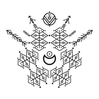 Ornamentos e flechas de estilo tribal. coleção de design padrão ornamental nativo americano. ilustração vetorial Vetor Premium