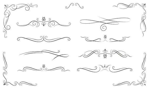 Ornamentos elegantes diferentes em estilo vintage