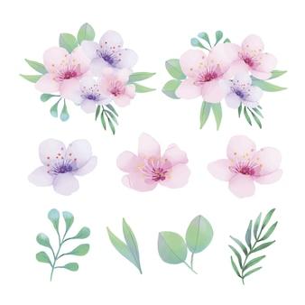 Ornamentos florais em aquarela com diferentes tipos de folhas