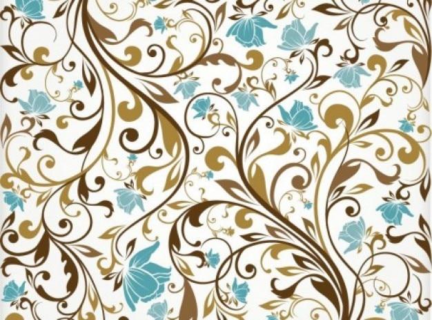 Ornamentos marrons com flores turquesa fundo