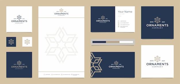 Ornamentos modernos com cartão de visita grátis, papel timbrado