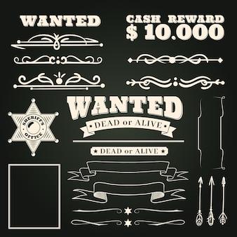 Ornamentos procurados. padrão de tatuagens country vintage western saloon e elementos de rolagem de quadro de cowboy em fundo escuro