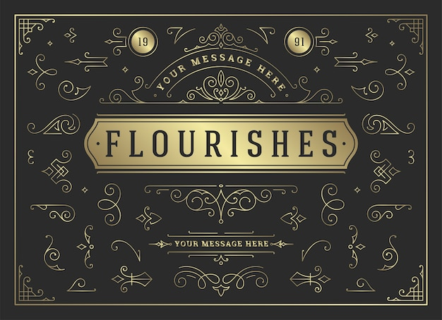 Ornamentos vintage redemoinhos e pergaminhos decorações conjunto de elementos de design floresce caligráfico