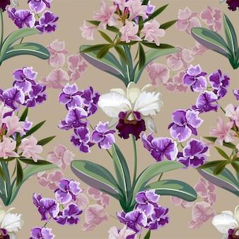 Orquídea branca e roxa flores sem costura padrão