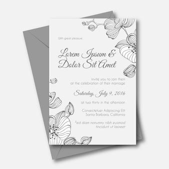 Orquídea convite de casamento desenhado a mão