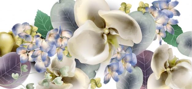 Orquídea flores vintage banner aquarela