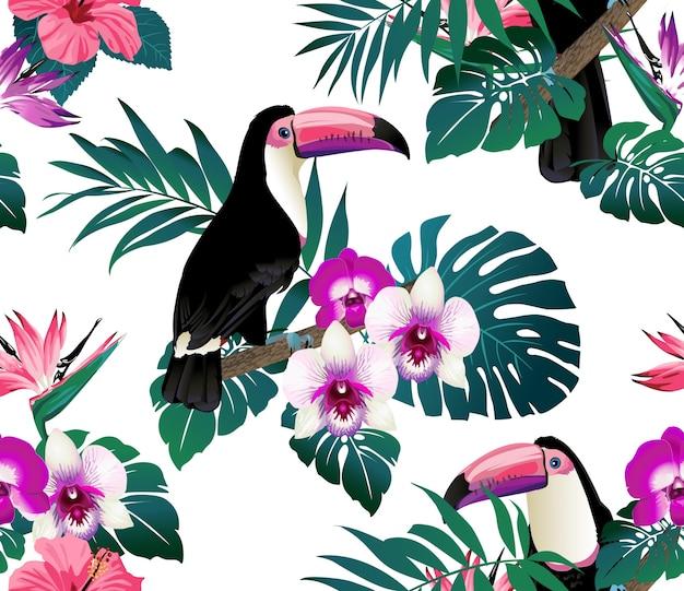 Orquídeas de pássaros tropicais e fundo de folhas de palmeira.