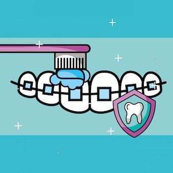 Orthodontics, escovar, dente, escudo, proteção, cuidado