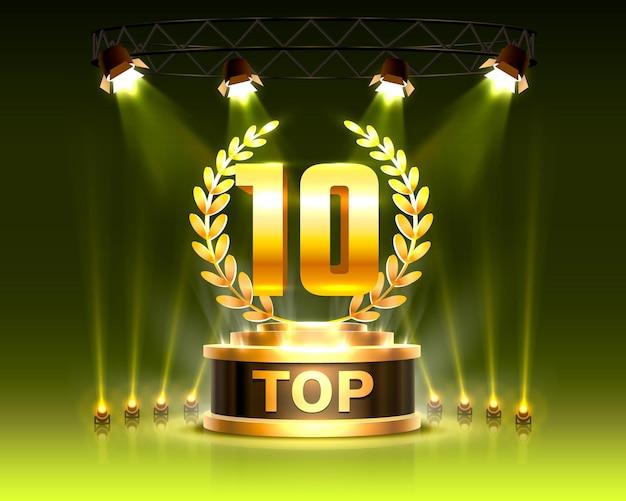 Os 10 melhores sinais de prêmio do pódio, objeto de ouro