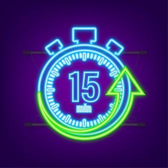 Os 15 minutos, ícone de néon do vetor de cronômetro. ícone de cronômetro em estilo simples, temporizador na cor de fundo. ilustração vetorial.