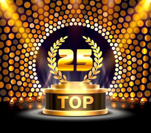 Os 25 melhores sinais de prêmio do pódio, objeto de ouro