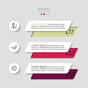 Os 3 degraus dos quadrados são usados para apresentar ideias e mostrar o trabalho. infográfico.