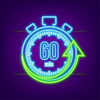 Os 60 minutos, ícone de néon do vetor de cronômetro. ícone de cronômetro em estilo simples, temporizador na cor de fundo. ilustração vetorial.