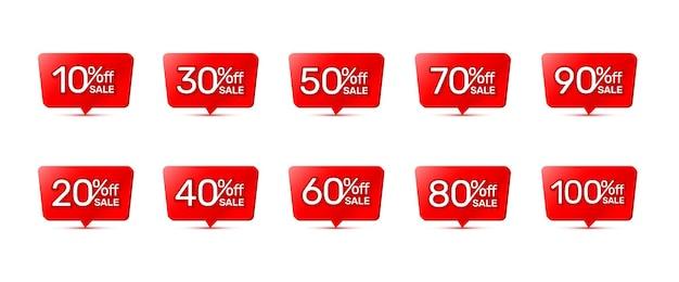 Os adesivos bandeira vermelha, coleção com porcentagem de desconto em ações. ilustração vetorial