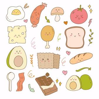 Os adesivos design plano de pão, queijo, abacate e ovo. café da manhã desenhado à mão doodle ícone planejador conjunto de coleta.