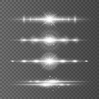 Os alargamentos de lentes horizontais brancas embalam os raios de laser