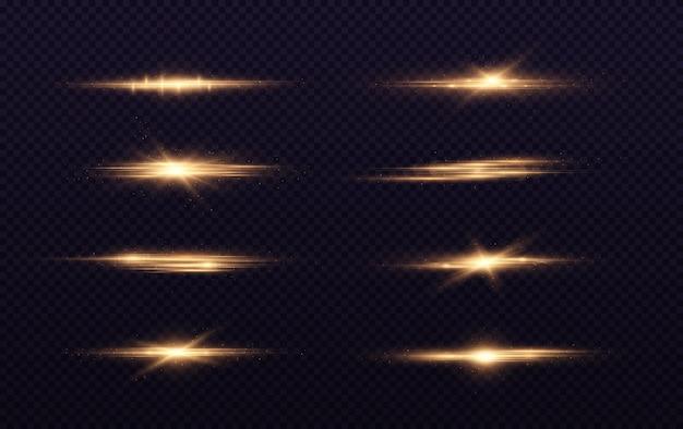 Os alargamentos de lentes horizontais douradas embalam feixes de laser.