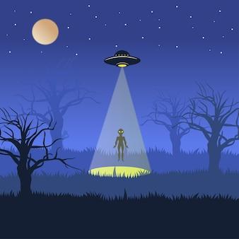 Os alienígenas descem do ovni quando a noite está tranquila