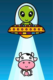 Os alienígenas no disco voador abduzem a vaca