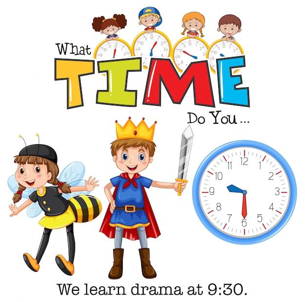 Os alunos aprendem drama às 9:30