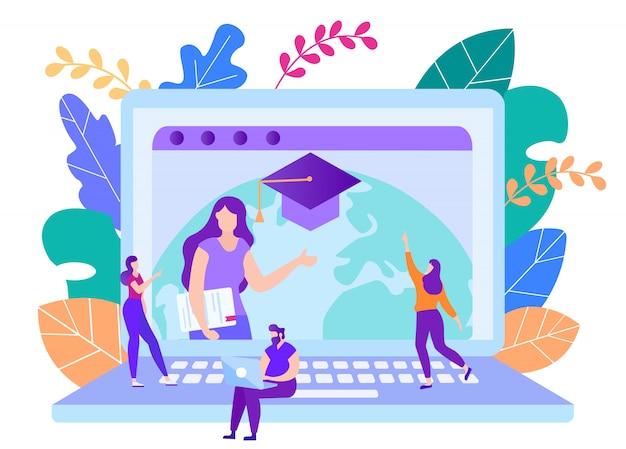 Os alunos assistem o curso de treinamento on-line no laptop.