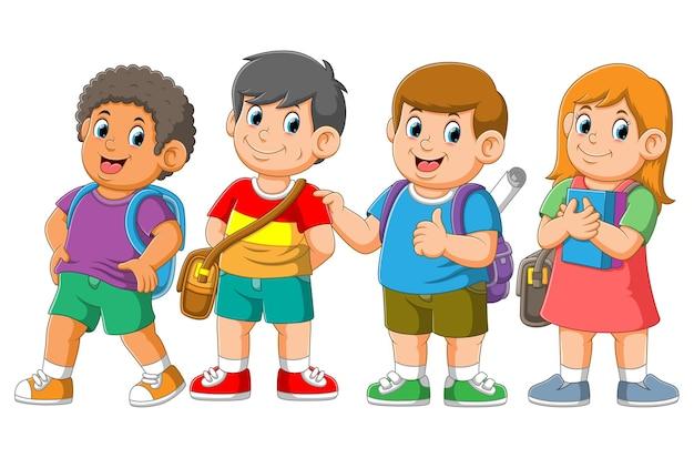 Os alunos estão pendurados juntos com uma cara feliz Vetor Premium