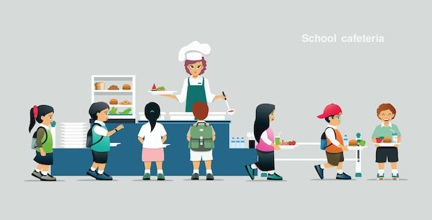 Os alunos fazem fila para receber comida no refeitório da escola