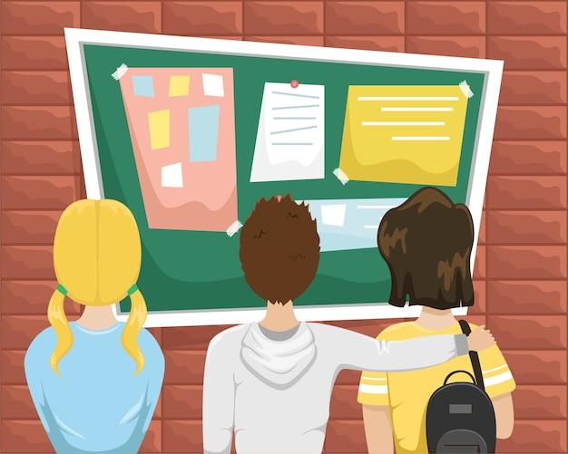 Os alunos ficam em frente ao quadro de avisos da escola.