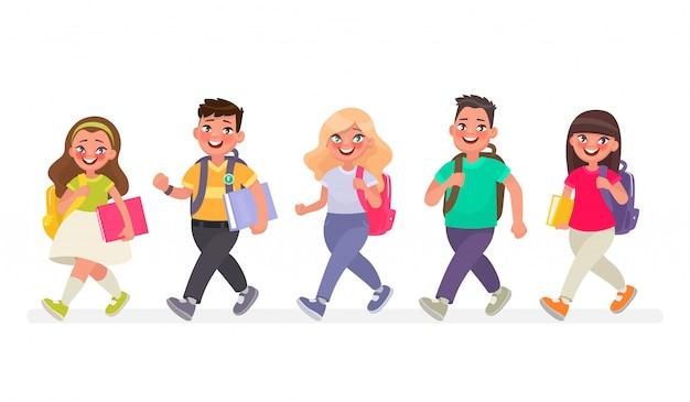 Os alunos frequentam a escola primária