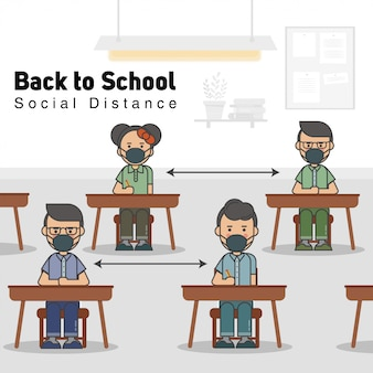 Os alunos na sala de aula usam uma máscara