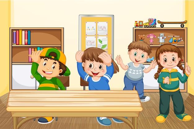 Os alunos passam o tempo durante o intervalo na sala de aula