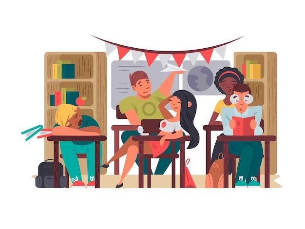 Os alunos sentam-se na sala de aula, nas carteiras de educação, na escola ilustração vetorial