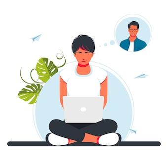 Os amantes, um homem e uma mulher, comunicam-se por videoconferência. video chamada. pessoas na tela do computador levando com o parceiro. vídeo conferência