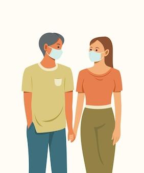 Os amantes usam uma máscara para proteger a saúde.