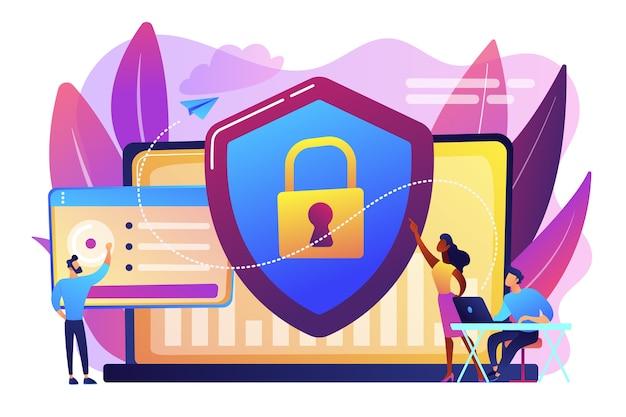 Os analistas de segurança protegem os sistemas conectados à internet com escudo. segurança cibernética, proteção de dados, conceito de ciberataques em fundo branco. ilustração isolada violeta vibrante brilhante