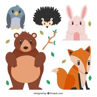 Os animais bonitos da floresta em design plano