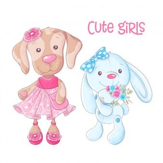 Os animais bonitos dos desenhos animados caninos e coelho entregam o desenho. vetor